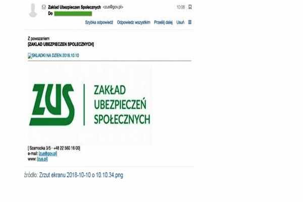 """Uwaga na maile z podpisem """"ZUS"""" – to fałszywki."""